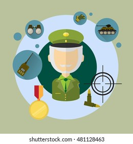 Military Man Commander Icon Flat Vector Illustration