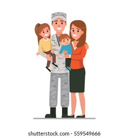 Military man with his family. Flat style vector illustration isolated on white background.