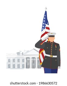 Military man salute on USA flag and White House background vector illustration.