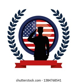 military man silhouette with emblem flag