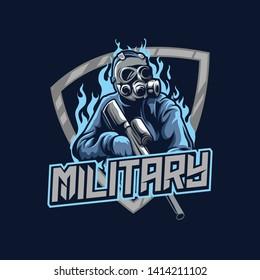 military mascot esport gaming logo concept