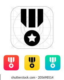 Military medal icon. Vector illustration.