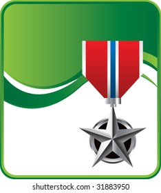 military medal on green wave background