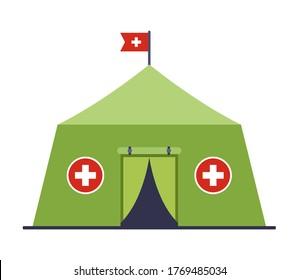 military medical tent providing first aid to a patient in a sounding situation. Flat vector illustration isolated on white background.