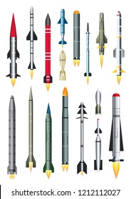 Military Missile Rocket Isolated on White. Vector Illustration. Ballistic Intercontinental Rocket with Nuclear Bomb. Ground-to-air and Air-to-air Missile.