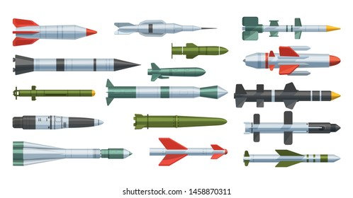 Military missilery army rocket differents types isolated. Missilery rocket flight in the air rocket engine weapon and ballistic nuclear bomb warhead vector illustration on background