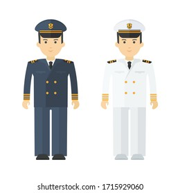 Military naval officer in full dress. Command of military cruiser, a cruise liner. Flat vector cartoon illustration. Objects isolated on a white background.