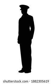 Military officer silhouette vector, person in black and white.