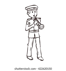 Military orchestra musician. Hand drawn cartoon vector illustration