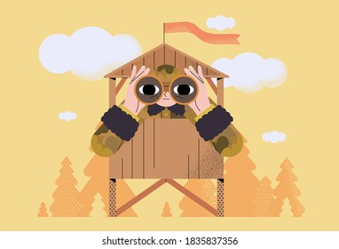 Military outpost with soldier. Man of arms standing on outpost in khaki uniform and looking in binoculars protecting border line. Military, army or 23 february greeting card, banner, poster.
