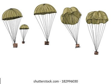 military parachute delivery - cartoon
