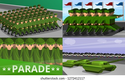 Military parade banner set. Cartoon illustration of military parade vector banner set for web design