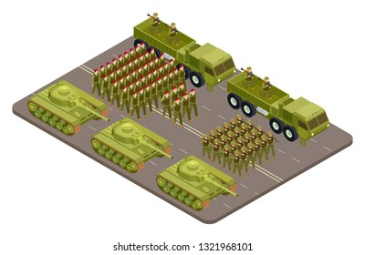 Military parade vector isometric with soldiers and military equipment