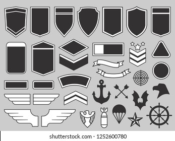 Military patches. Army soldier emblem, troops badges and air force insignia patch design elements or navy seals army logo. Airforce eagle badge vector isolated symbols set