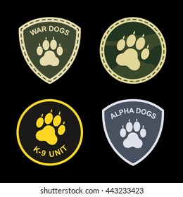 Military patches dog paw