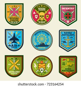 Military patches vector set. Army forces emblems and labels. Military badge and army emblem illustration