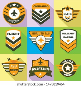 Military patrol logo set. Flat set of 9 military patrol vector logo for web design isolated on white background