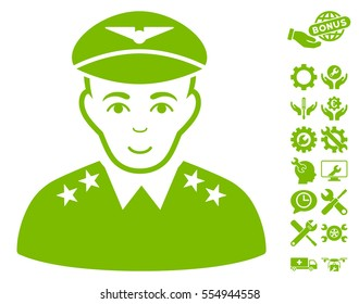 Military Pilot Officer pictograph with bonus service pictograph collection. Vector illustration style is flat iconic eco green symbols on white background.