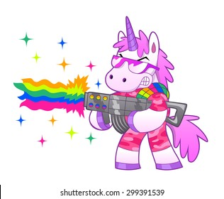 Military pink unicorn shoots a battle rainbow.
