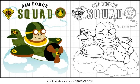 Military plane on the blue sky, coloring page or book, vector cartoon illustration