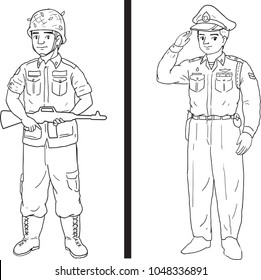 Military and police cartoon vector drawn