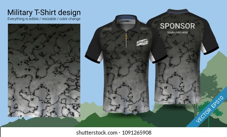 Military polo t-shirt design, with camouflage print clothes for jungle, hiking trekking or hunter, Vector eps10 file prepared to showcase your custom design, by simply editinng object and color layers