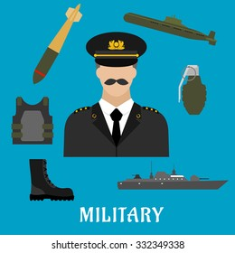 Military profession flat icons with moustached man in uniform, encircled by body armor, army boots, hand grenade, submarine, combat ship and torpedo