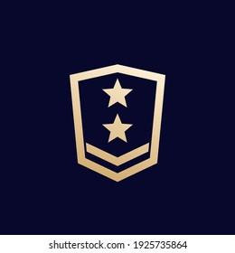 Military rank, army logo on dark