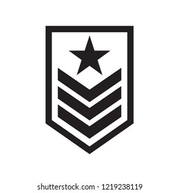 military rank badge icon in trendy flat style