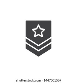 Military rank vector icon. Army badge filled flat sign for mobile concept and web design. Officer rank star glyph icon. Force emblem symbol, logo illustration. Vector graphics