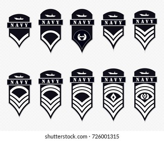 Military Ranks Stripes and Chevrons. Vector Set Army Insignia. Sergeant's Staff