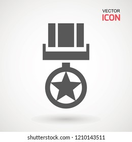 Military reward medal line icon, outline vector sign, linear style pictogram isolated on white. Symbol, logo illustration. Editable stroke