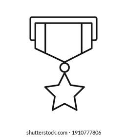 Military reward medal line icon