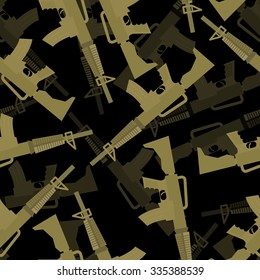 Military rifle seamless pattern. 3d background of machines gun. Army ornament.