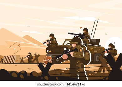 Military roadblock with soldiers vector illustration. Men of arms standing in khaki uniform with weapon at barbed wire blocking road flat style design. Conflict escalation concept