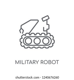 Military robot machine linear icon. Modern outline Military robot machine logo concept on white background from army and war collection. Suitable for use on web apps, mobile apps and print media.
