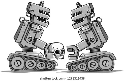 military robot in the post apocalypse holding human skull