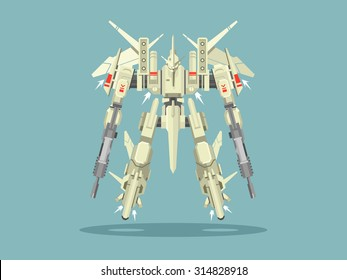Military robot transformer. Metallic isolated robotic, toy, warrior fantasy cyborg, futuristic technology, mechanism machine gun, vector illustration