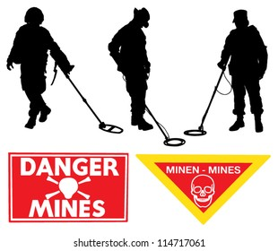 Military Sapper Silhouette Minefield warning sign on white background