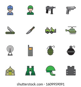 Military service filled outline icons set, line vector symbol collection, Army linear colorful pictogram pack. Signs, logo illustration, Set includes icons as pistol gun, helicopter, grenade, helmet