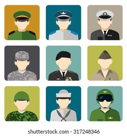 Military servicemen in uniform internet users avatar head and shoulder icons set flat  abstract isolated vector illustration