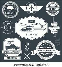 military set label template of emblem element for your product or design, logo, web and mobile applications with text. Vector illustration with thin lines isolated icons on stamp symbol