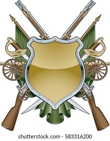 military shield background with muskets, swords, cannons and banners