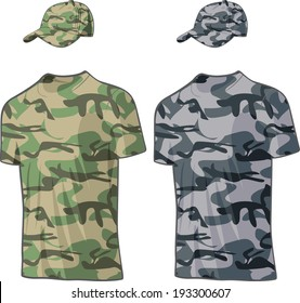 Military Shirts and caps templates. Vector illustration