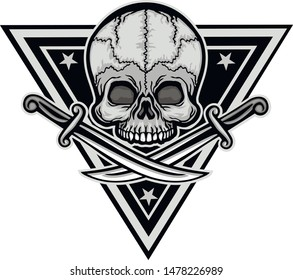 military sign with skull and dagger, grunge vintage design t shirts