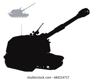 Military silhouettes. Vector self-propelled howitzer