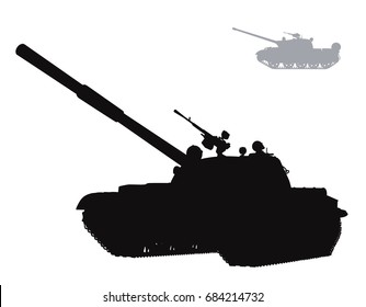 Military silhouettes. Vector tank