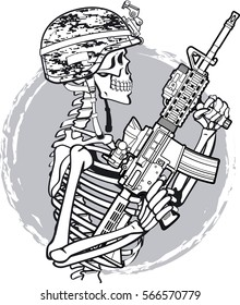 military skeleton wearing kevlar helmet and holding M4 assault rifle