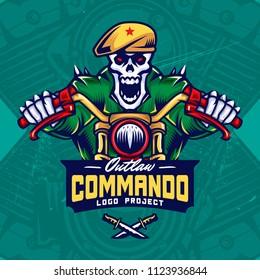 Military Skull Bikers Esport Logo Design