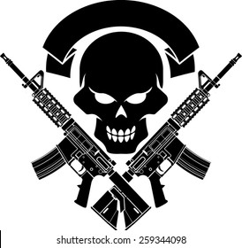 military skull with crossed assault rifles